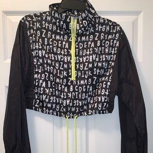 SHEIN Drawstring hem zip up crop jacket